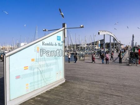 spanien barcelona u200bu200bfussgaengerbruecke am hafen port