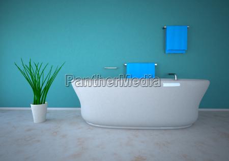 3d darstellung von bad mit topfpflanze