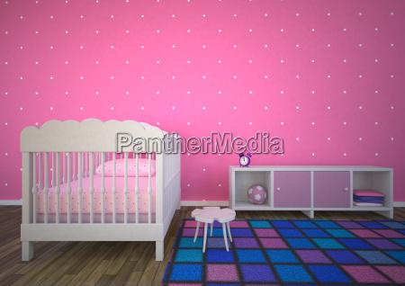 leere kinderzimmer mit rosa hintergrund