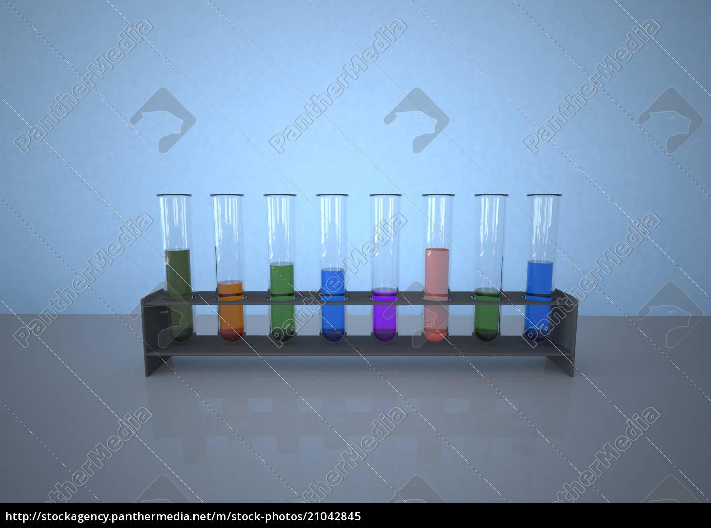 bunte, reagenzgläser, in, rack, vor, blauem - 21042845