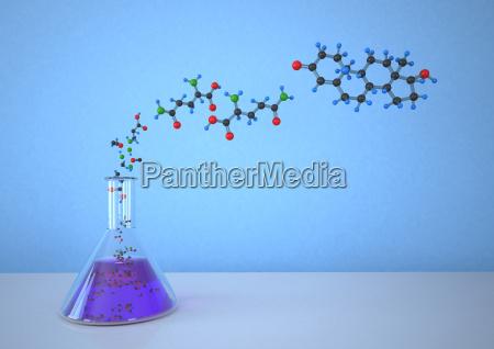 konische, flasche, mit, molekularer, struktur, vor - 21042861