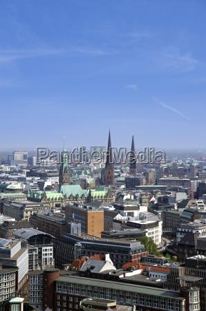 deutschland hamburg blick auf skyline mit