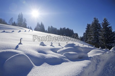 deutschland bayern ansicht von winterlandschaft tal