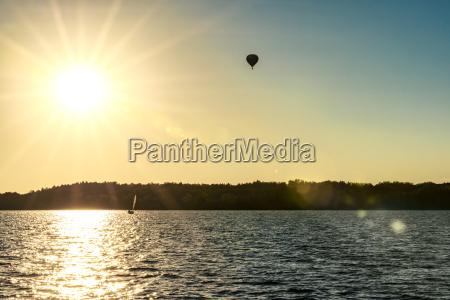 poland masuria captive baloon over lake