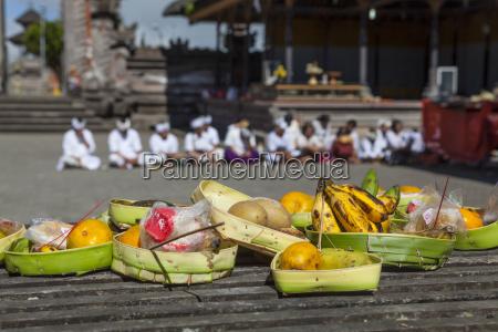 indonesia religious offering at pura ulun