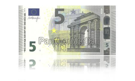 neue 5 euro banknote gegen weissen