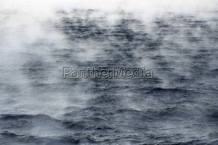 arctic ocean steam raising up from