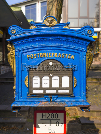 germany hesse ruedesheim old blue mailbox