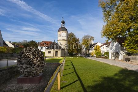 germany bavaria burghausen clock tower and