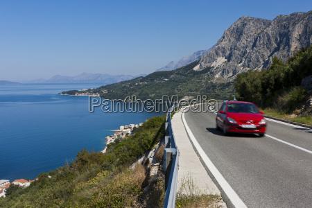 croatia dalmatia car on coastal road