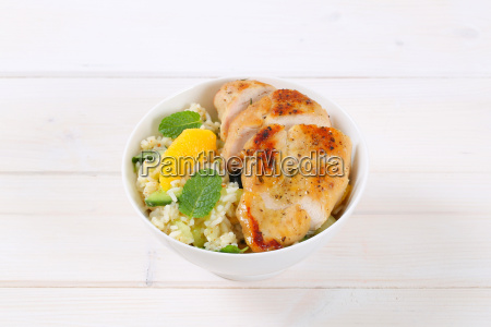roasted chicken breast with rice and