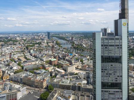 deutschland hessen frankfurt stadtansicht commerzbank tower