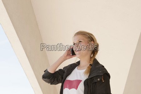 germany berlin young woman tallking on