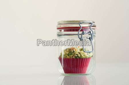 spinach muffin in preserving jar