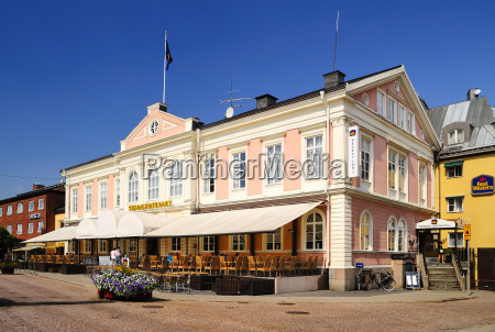 sweden smaland vimmerby town square with