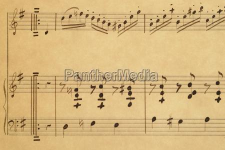 sheets of musical notes close up