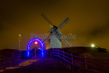 germany berlin marzahn windmill at night