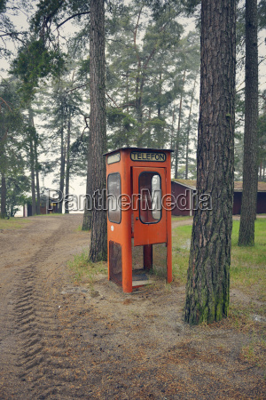 sweden karlstad abandoned telephone booth in