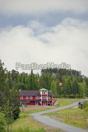 sweden orsa typical red wooden house