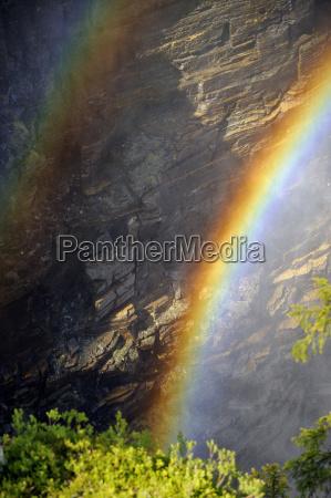 schweden gaeddede regenbogen am wasserfall haellingsafallet