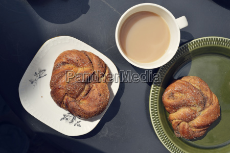 simple swedish breakfast with cinnamon buns