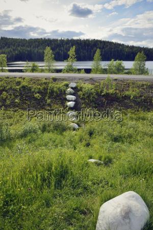 sweden jokkmokk stone marking at polar