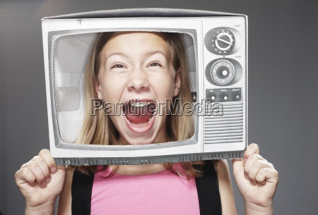 girl screaming in paper tv against