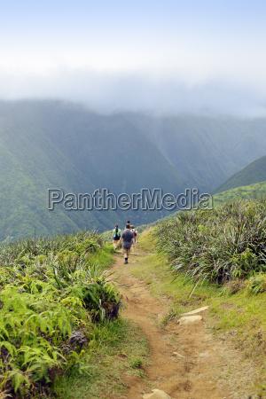usa hawaii maui hikers on waihee