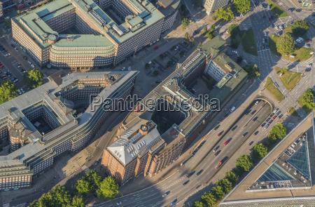 germany hamburg aerial view of mitte