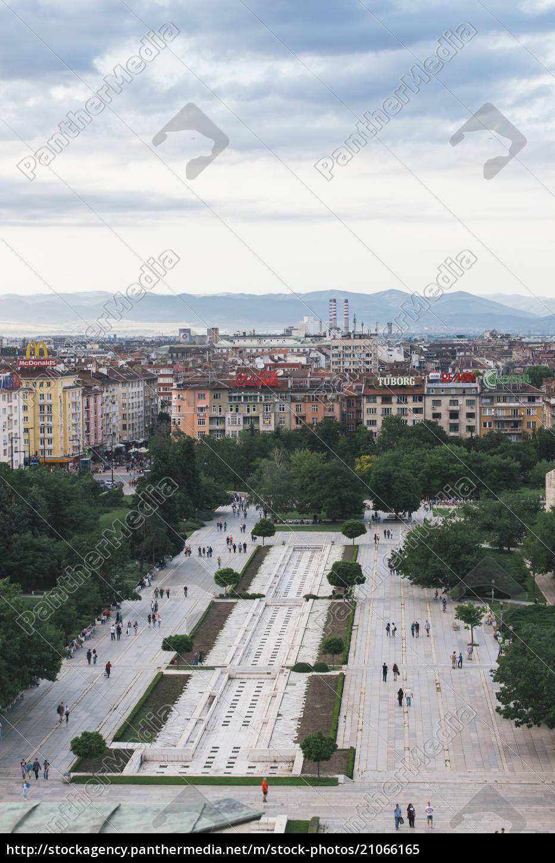 bulgarien, sofia, stadtansicht, blick, vom, nationalen, kulturpalast, zum, park - 21066165