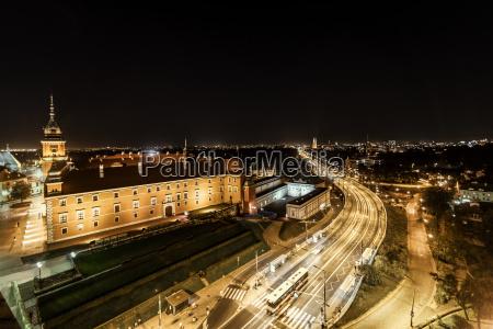 poland warsaw royal castle at night