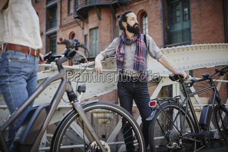 germany hamburg man with electric bicycle
