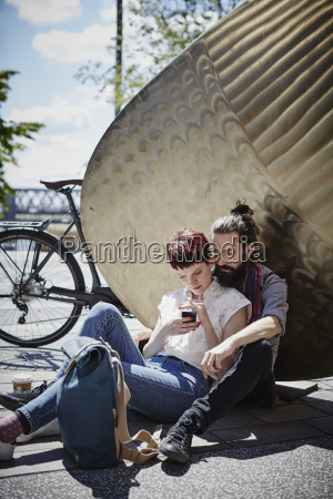 germany hamburg couple on bicycle trip