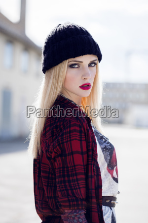 portrait of stylish blond young woman