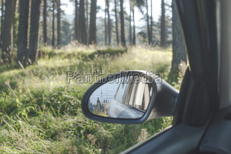 bulgaria car in the woods reflection