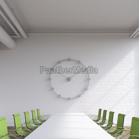 empty conference room with oversized wall