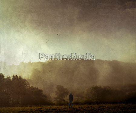 man standing on meadow at sunset