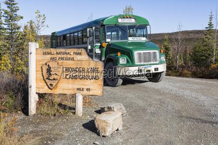 usa alaska visitor bus at denali
