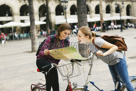 spain barcelona two happy young women