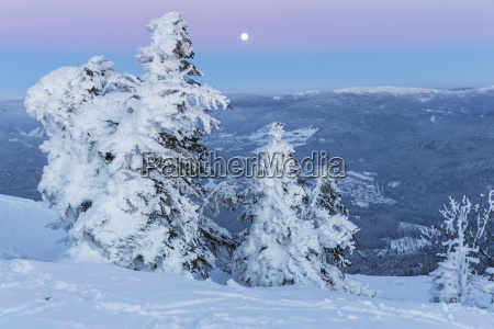 germany bavaria moonrise on summit of