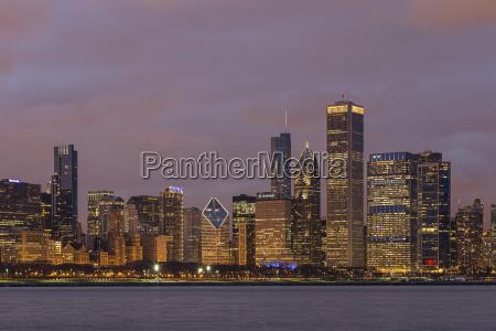 usa illinois chicago view of skyline
