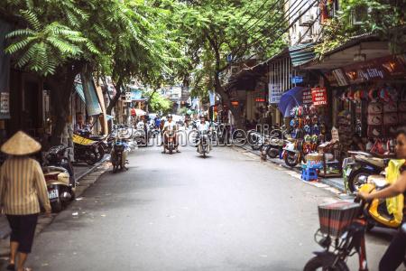 vietnam hanoi city street view with
