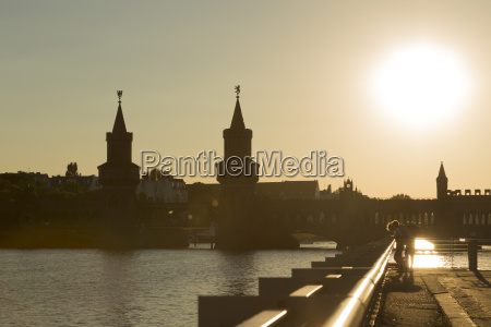 germany berlin spree river at sunset