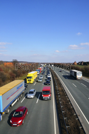 germany traffic jam on highway a2