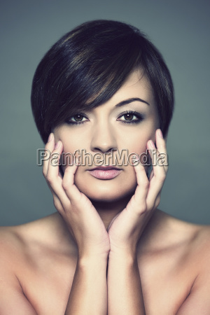 portrait of young woman studio shot