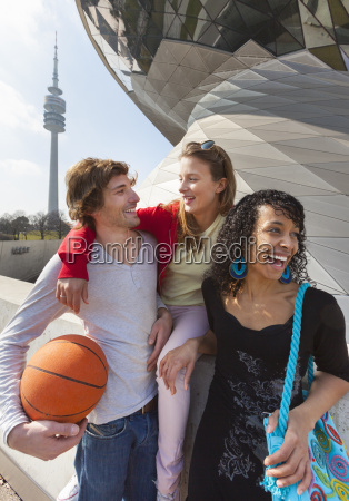 germany bavaria munich three friends having