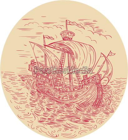 grosses schiff segeln stuermisches meer oval
