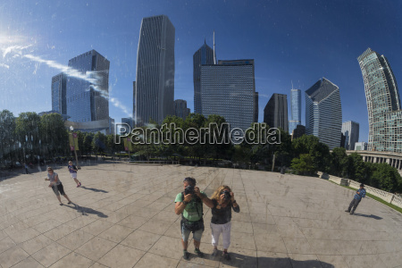 usa illinois chicago reflection of two