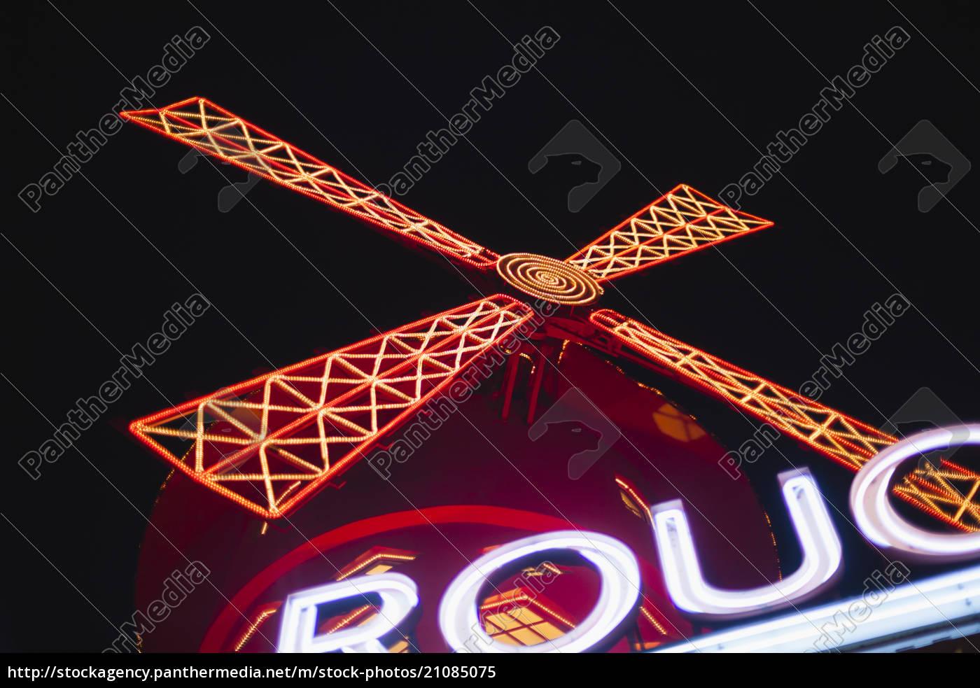 frankreich, paris, lightes, moulin, rouge, in, der, nacht - 21085075