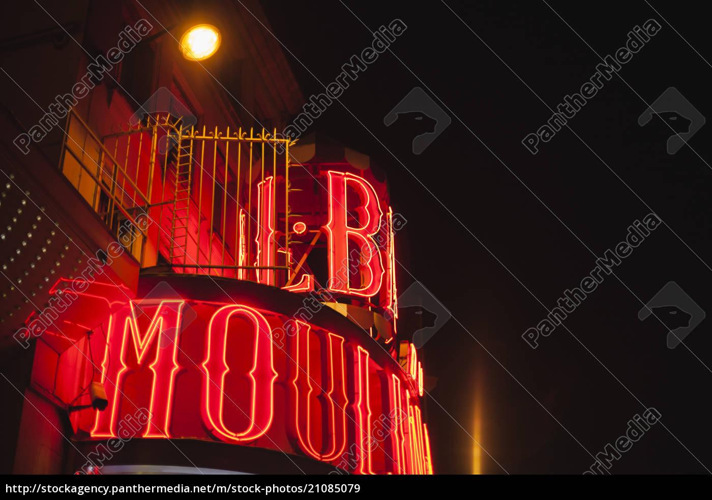 frankreich, paris, lightes, moulin, rouge, in, der, nacht - 21085079